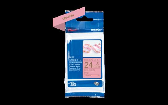 Originalt Brother TZeRE54 silkebånd – gull på rosa, 24 mm bred 5