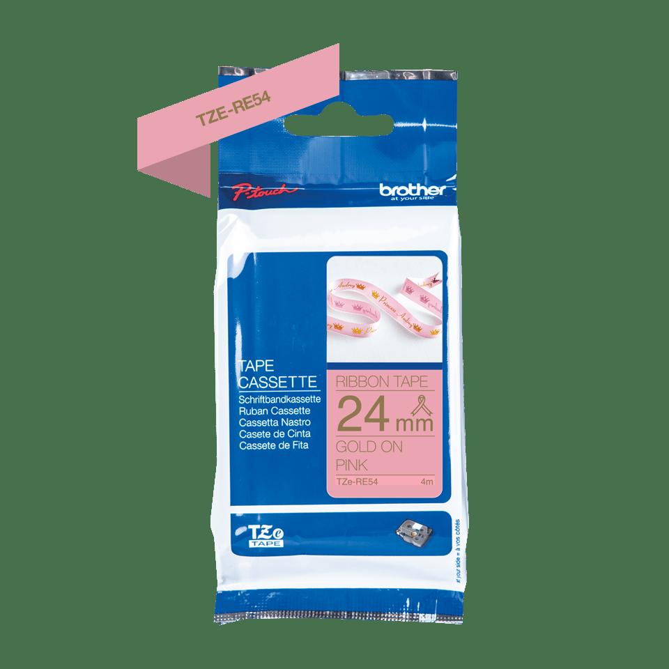 Alkuperäinen Brother TZeRE54 -satiininauha – kullanvärinen teksti pinkillä nauhalla, 24 mm 5
