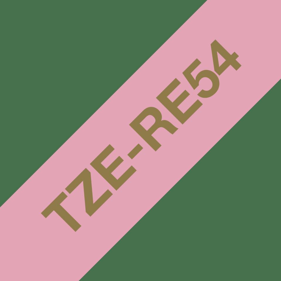 Alkuperäinen Brother TZeRE54 -satiininauha – kullanvärinen teksti pinkillä nauhalla, 24 mm