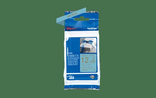 Genuine Brother TZe-RL34 Ribbon Tape Cassette – Gold on Light Blue, 12mm wide 3