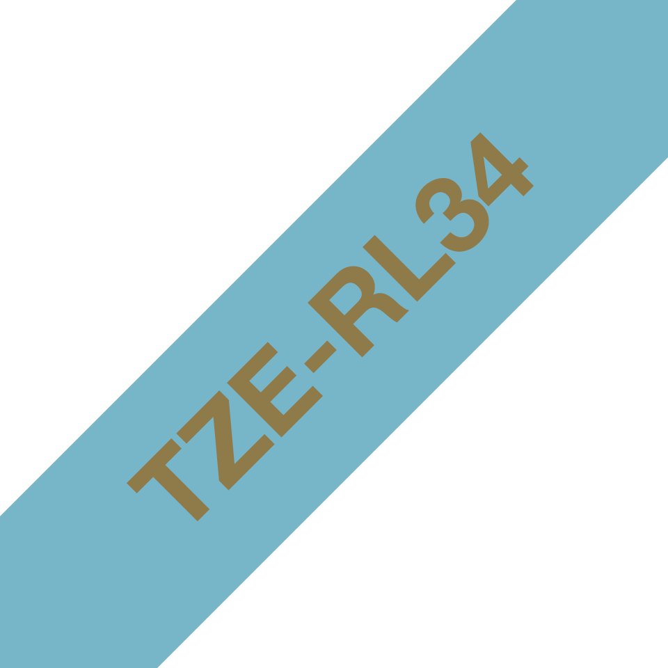 TZe-RL34 taśma wstążkowa TZe firmy Brother ze złotym nadrukiem na pastelowo niebieskim tle o szerokości 12mm