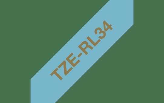 Oryginalna taśma wstążkowa Brother TZe-RL34 – złoty nadruk na jasnoniebieskim tle, 12mm szerokości