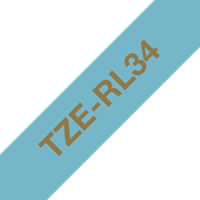 Páska TZe-RL34 12 mm zlatý tisk na světle modré