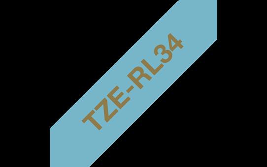 Genuine Brother TZe-RL34 Ribbon Tape Cassette – Gold on Light Blue, 12mm wide