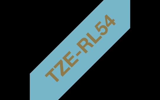 Genuine Brother TZe-RL54 Ribbon Tape Cassette – Gold on Light Blue, 24mm wide