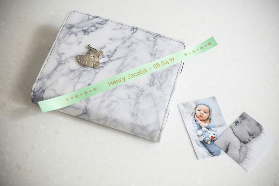 Brother TZe-RM34 satin ribbon tape cassette - gold on mint green - new born baby photo album with the name and date of birth of the baby