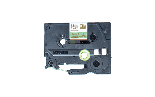 Originalt Brother TZeRM34 silkebånd – gull på mintgrønt, 12 mm bred 3