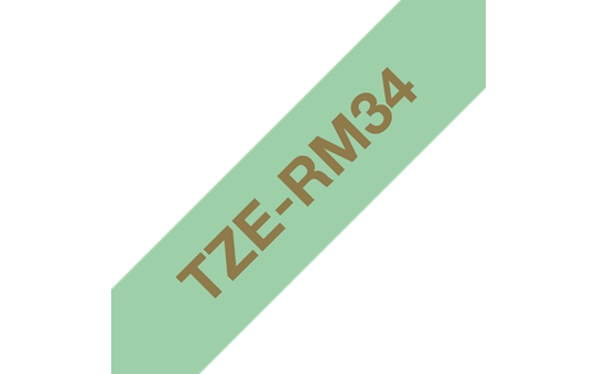 Genuine Brother TZe-RM34 Ribbon Tape Cassette – Gold on Mint Green, 12mm wide 3