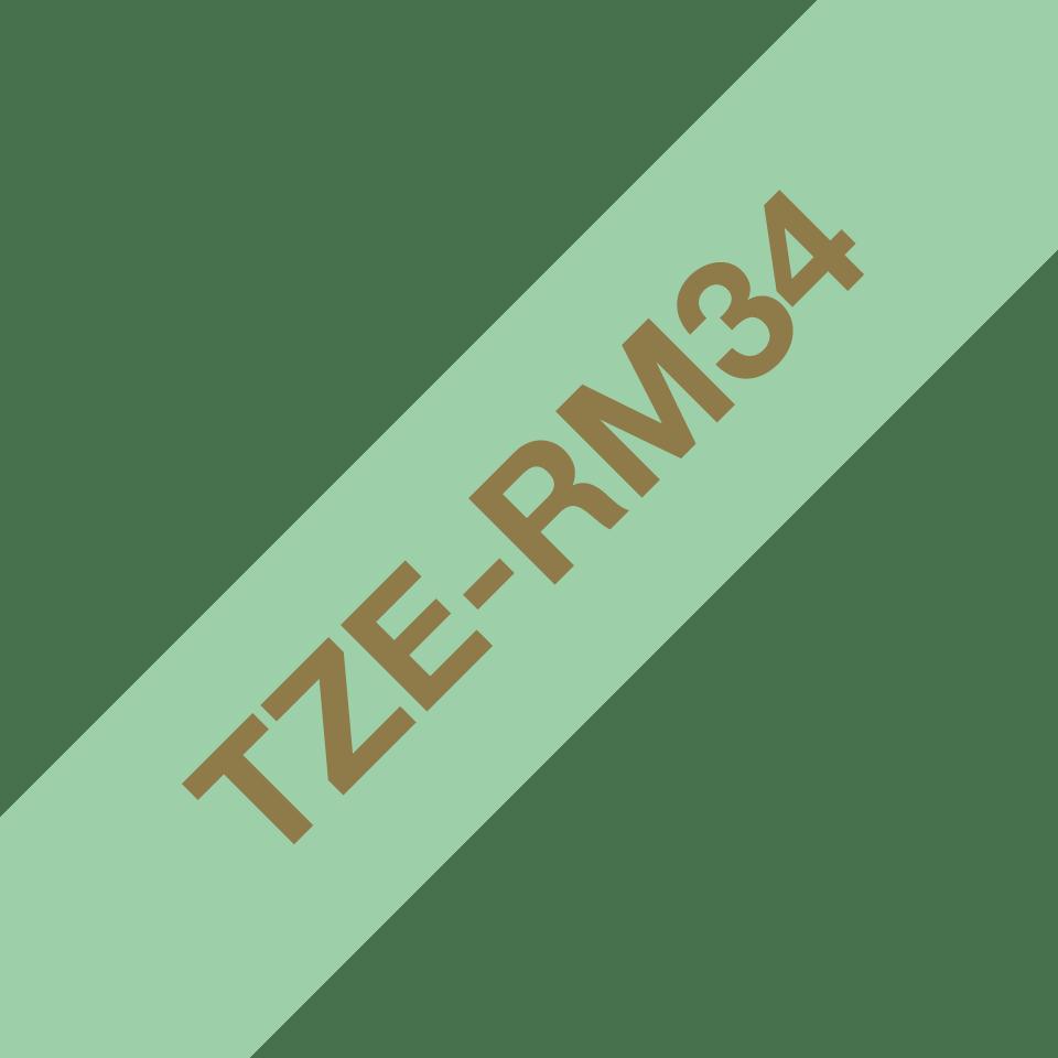Oryginalna taśma wstążkowa Brother TZe-RM34  – złoty nadruk na jasnozielonym tle, 12mm szerokości 3