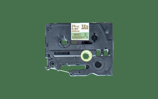 Originalt Brother TZeRM54 silkebånd – gull på mintgrønt, 24 mm bred 4