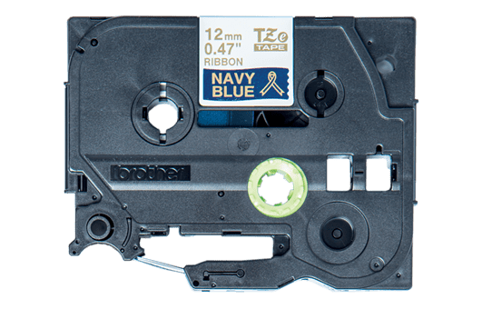 Originali Brother TZe-RN34 medžiaginė ženklinimo juosta – auksinės raidės tamsiai mėlyname fone, 12 mm pločio 2