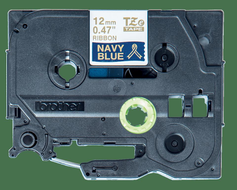 Original Brother TZe-RN34 satinbånd – guld på marineblå, 12 mm bred 8