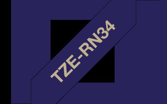 Оригинална касета Brother TZe-RN34, златен текст на тъмносиня лента за панделки, 12mm.