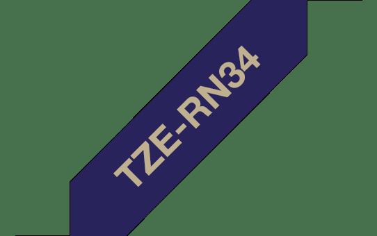 Oryginalna taśma wstążkowa TZe-RN34 firmy Brother – złoty nadruk na granatowym tle, 12 mm szerokości