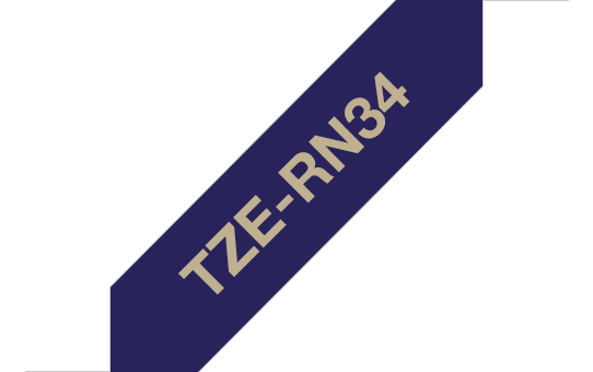 Genuine Brother TZe-RN34 Labelling Tape Ribbon– Gold on Navy Blue, 12mm wide