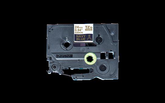 Äkta Brother TZe-RN54 satinband – guld på marinblått, 24 mm brett band 5