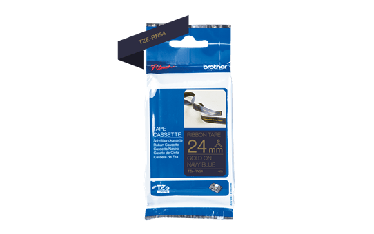 Genuine Brother TZe-RN54 Labelling Tape Ribbon– Gold on Navy Blue, 24mm wide 3