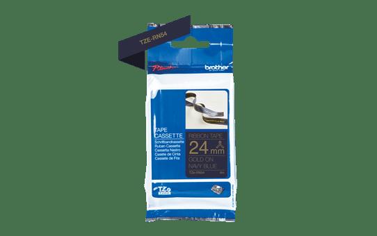 Originální pásková kazeta Brother TZe-RN54 - zlatý tisk na tmavě modré, šířka 24 mm 3