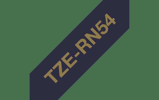 Oryginalna taśma wstążkowa Brother TZe-RN54 – złoty nadruk na granatowym tle, 24 mm szerokości