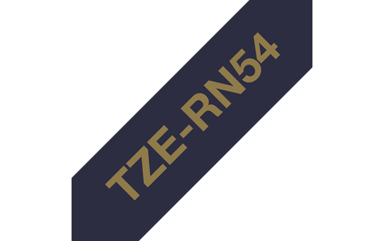 Genuine Brother TZe-RN54 Labelling Tape Ribbon– Gold on Navy Blue, 24mm wide