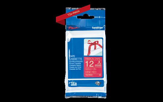Brother TZe-RW34 Textilband – gold auf weinrot 4