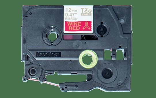 Oryginalna taśma wstążkowa Brother TZe-RW34  – złoty nadruk na czerwonym tle, 12 mm szerokości 2