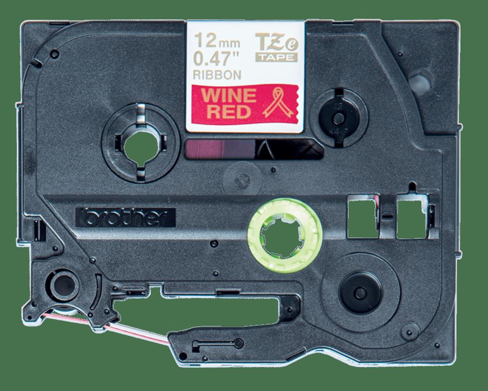 Originele Brother TZe-RW34 lintcassette - goud op wijnrood, 12 mm breed 2