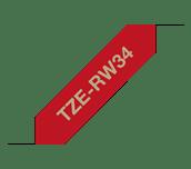 Brother TZe-RW34 Nastro in tessuto originale – Oro su rosso vino, 12 mm di larghezza