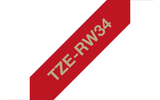 Originele Brother TZe-RW34 lintcassette - goud op wijnrood, 12 mm breed