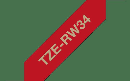 Original Brother TZe-RW34 satinbånd – guld på vinrød, 12 mm bred