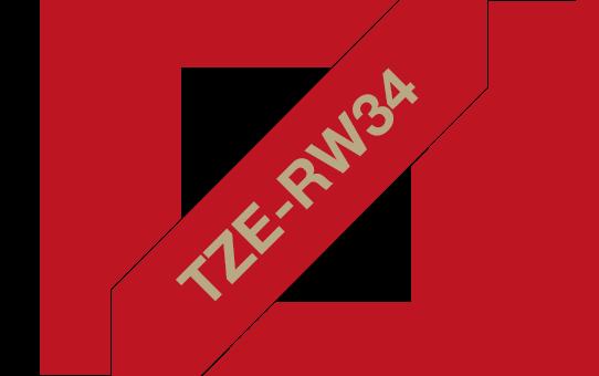 Casetă cu bandă decorativă originală Brother TZe-RW34 – auriu pe roșu bordeaux de 12mm lățime