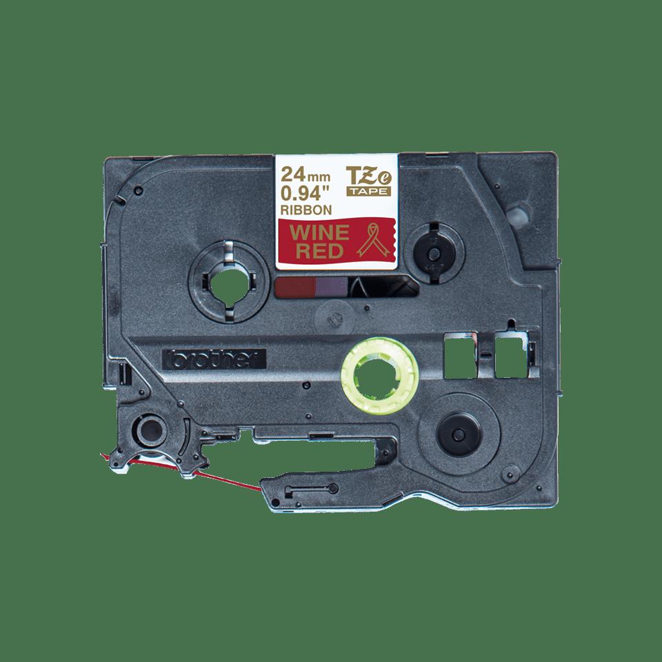 Оригинальная кассета с тканевой лентой TZe-RW54 -золотой на тёмно-красном, ширина 24 мм.