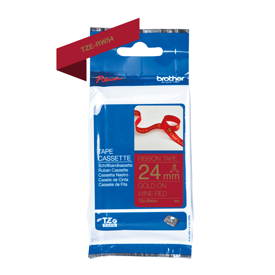 Genuine Brother TZe-RW54 Ribbon Tape Cassette – Gold on Wine Red, 24mm wide 3