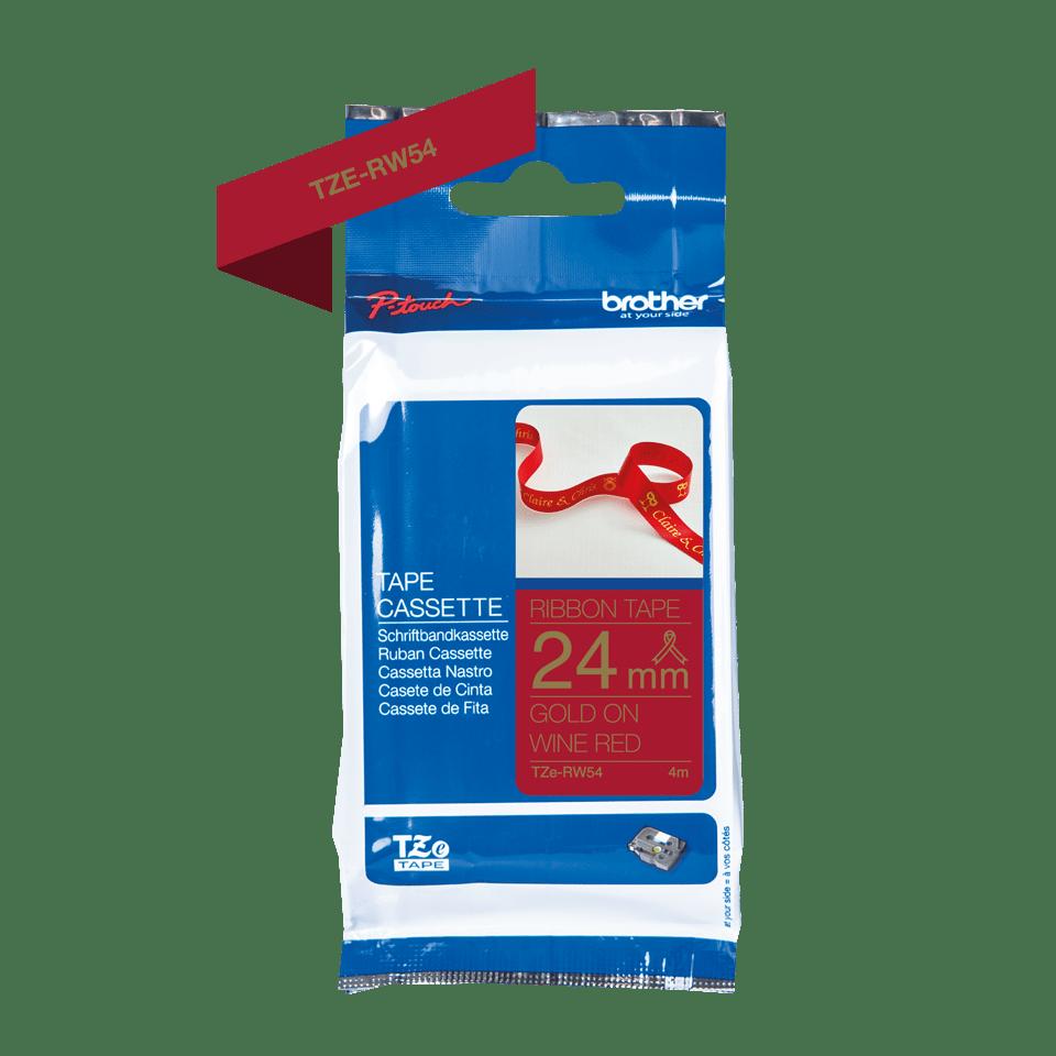 Оригинальная кассета с тканевой лентой TZe-RW54 -золотой на тёмно-красном, ширина 24 мм. 2
