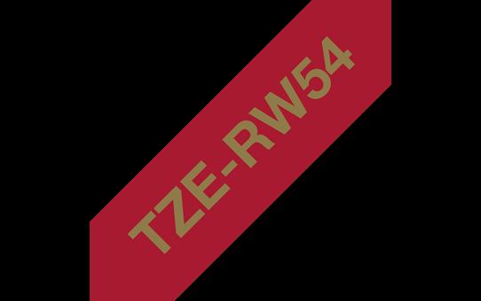 Originální pásková kazeta Brother TZe-RW54 - zlatý tisk na vínově rudé, šířka 24 mm