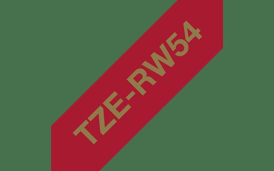 Oryginalna taśma wstążkowa Brother TZe-RW54 – złoty nadruk na tle w kolorze czerwonego wina, 24 mm szerokości