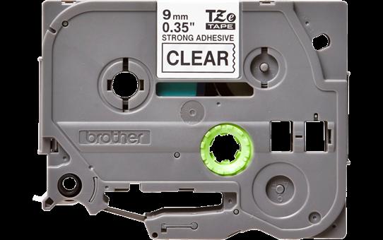Originele Brother TZe-S121 sterk klevende label tapecassette - zwart op transparant, breedte 9 mm 2