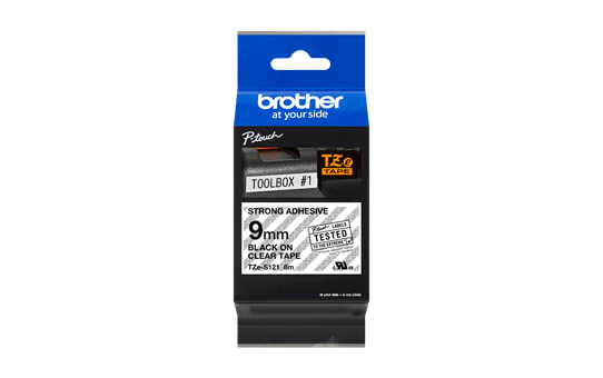 Original Brother TZeS121 tape – sort på klar, 9 mm bred 3
