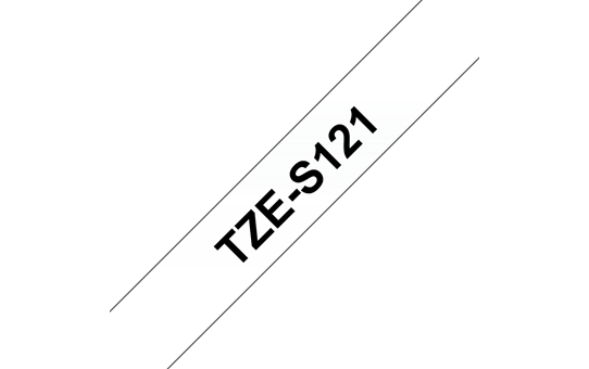 Genuine Brother TZe-S121 Labelling Tape Cassette – Black on Clear Strong Adhesive, 9mm wide