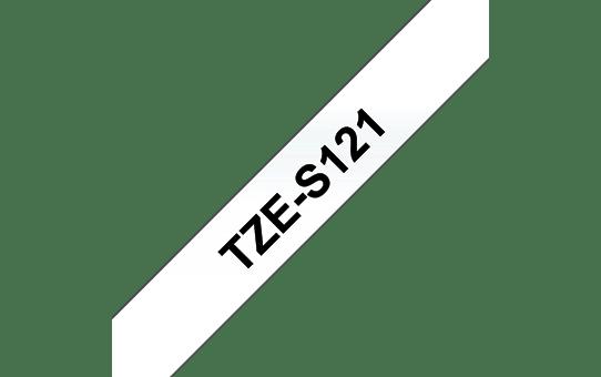 Original Brother TZeS121 merketape – sort på klar, med sterkt lim, 9 mm bred