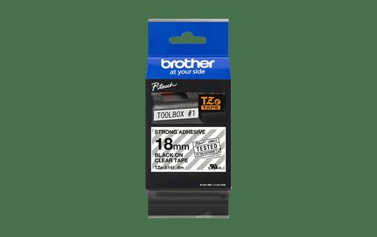 Brother TZeS141: оригинальная кассета с лентой с мощной клейкой поверхностью для печати наклеек черным на прозрачном фоне, ширина: 18 мм. 2