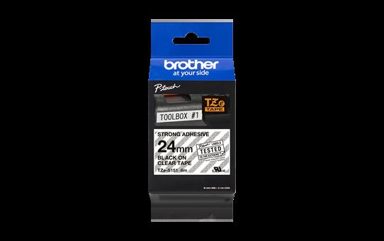 Original Brother TZES151 merketape – sort på klar, med sterkt lim, 24 mm bred 3