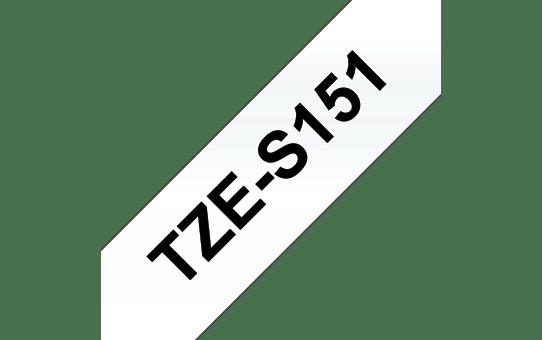 Cassette à ruban pour étiqueteuse TZe-S151 Brother originale – Noir sur transparent, 24 mm de large