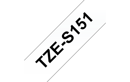Originele Brother TZE-S151 sterk klevende label tapecassette - zwart op transparant, breedte 24 mm