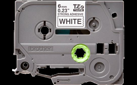 Brother TZeS211: оригинальная кассета с лентой с мощной клейкой поверхностью для печати наклеек черным на белом фоне, ширина: 6 мм.