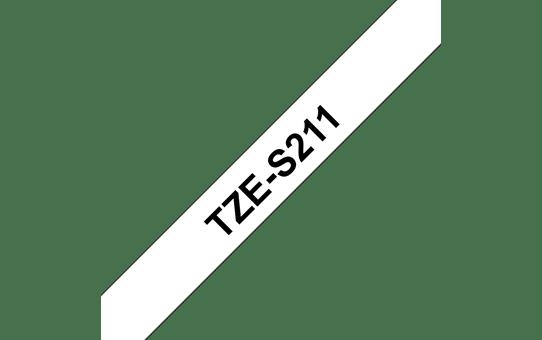 Original Brother TZeS211 merketape – sort på hvit med sterkt lim, 6 mm bred