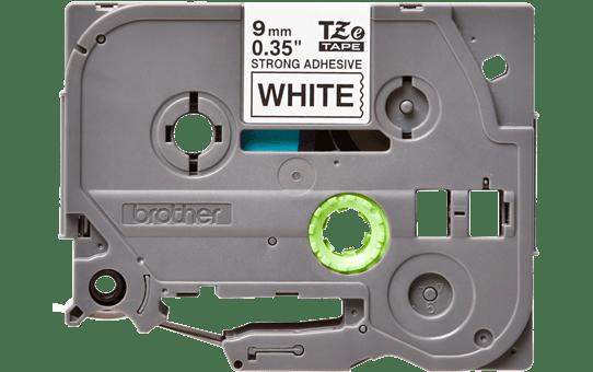 Alkuperäinen Brother TZeS221 -lujasti kiinnittyvä tarranauha – musta teksti/valkoinen pohja, 9 mm 2