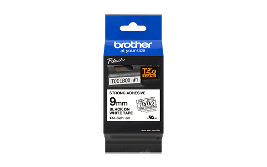 Brother TZeS221 original etikettape, svart på vit, 9 mm  2