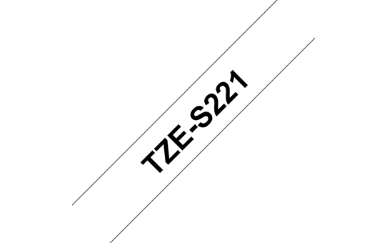 Original Brother TZeS221 merketape – sort på hvit med sterkt lim, 9 mm bred