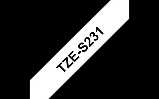 Original Brother TZeS231 merketape – sort på hvit med sterkt lim, 12 mm bred